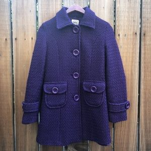 Bozzolo purple faux fur collar pea coat jacket S